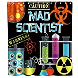 Final Friday Mad Scientist Shower Curtains Science Lab Theme Cloth Fabric Bathroom Decor Sets with Hooks Waterproof Washable 70 x 70 inches Black Blue