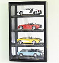 1/18 Scale Diecast Car Model Display Case Cabinet Holds 4 Cars (Black Finish)