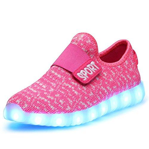 O&N Kid Boy Girl Upgraded USB Charging LED Light Sport Shoes Flashing Fashion Sneakers Pink1 Pink1 9.5 M US Toddler