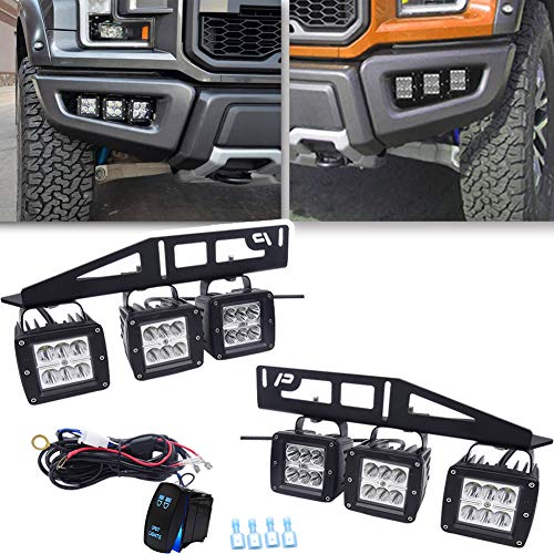 6x 3'' LED Cube Fog light Pod +Hidden Bumper Triple Foglamp Mounting Bracket w/Rocker Switch Wiring Kit Compatible with 2017-2020 Ford Raptor