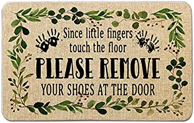 Occdesign Durable Burlap Front Door Mat Rug -Please Remove Your Shoes at The Door -Decorative Doormat for Porch Entry -27.5X17 inches