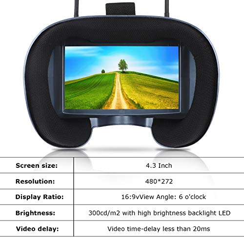 4.3 Inch 5.8G 40CH FPV Goggles VR008 Pro FPV Headset Glasses with DVR Diversity