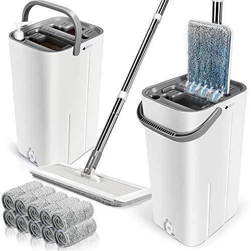 Juego de fregona plana y cubo, cubo de limpieza doble lavado y seco con 10 almohadillas de mopa para el hogar con mango de acero inoxidable para limpieza de suelos de madera dura