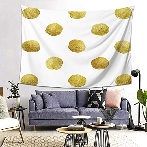 Tapiz Tapestry Wall Hanging Bedding Tapestry,Gold Glittering Polka Dot Pattern,Beach Throw Tapestry Table Cover Curtain Home Decoration Wall Art Bedroom Dorm Decor