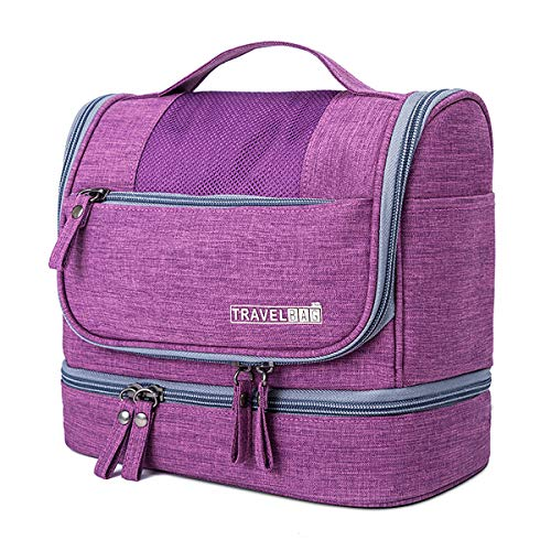 FORRICA Bolsa de Aseo para Hombres Mujeres Organizador Cosmético de Viaje Portátil Bolsa de Maquillaje Grande Bolso de Organizador Impermeable Bolso Cosméticos Púrpura