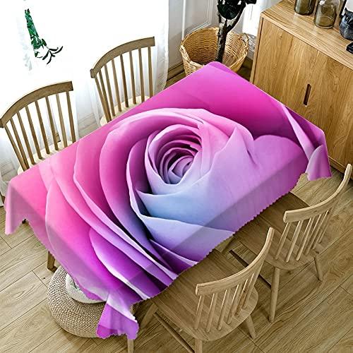 Mantel Impermeable con patrón de Rosas 3D, Mantel Rectangular de Tela Lavable, Utilizado para Bodas, restaurantes, Exteriores M-5 140x200cm