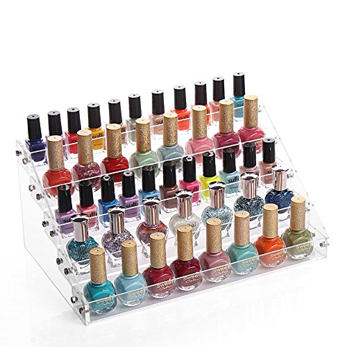Sooyee Acrylic 3 Layer Nail Polish Rack Tabletop Display Stand Holds Up 36 Bottles,Clear 3 Tier Essential Oils Holder,12.2X4.72X3.4 Inch Pack of 1