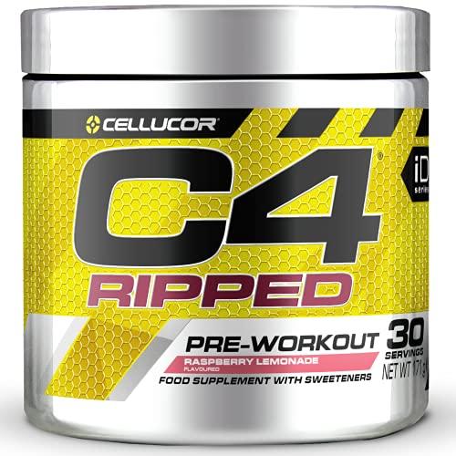 C4 Ripped - Suplemento en polvo para preentrenamiento - Tropical Punch   Bebida energética para antes de entrenar   150mg de cafeína + beta alanina + extracto de granos de café verde   30 raciones