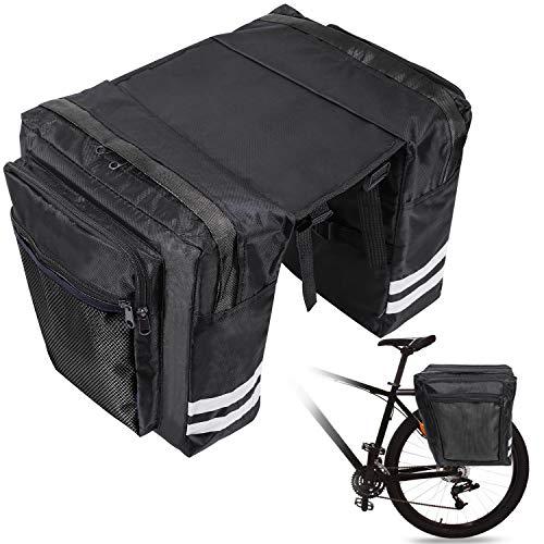 Borse Bici Posteriore, Doppia Borsa per Bicicletta,Borse per Bicicletta Portapacchi,Sacche per Bicicletta Laterali,Impermeabile Resistente allo Strappo con Tracolla,Tasche Multiple,30L