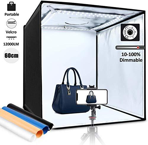 Amzdeal Tenda Studio Fotografico Portatile 60x60x60cm con 12000LM 5500K-6000K LED Dimmerabile, 4 × Sfondi (Blu, Bianco, Nero, Arancione), Facile da Installare con Velcros Strong Attachment