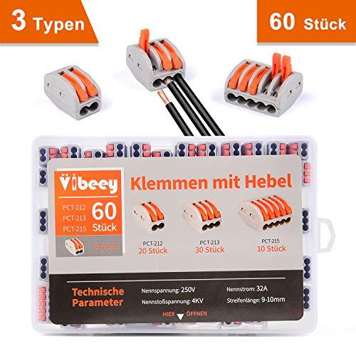 Vibeey Verbindungsklemmen Klemmen Hebel Set [60 STÜCK], 2/3/5-Leiter Klemmen Elektro Steckklemmen, 20 Stk. 2-Polig(PCT-212), 30 Stk. 3-Polig(PCT-213), 10 Stk. 5-Polig(PCT-215)