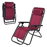 Aktive 62191 - Tumbona Gravedad Cero burdeos, reclinable y plegable Beach 178x65x110cm