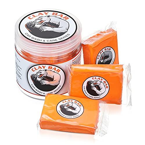 Barra de Arcilla Coche Car Clay Bar Magic 3 Paquetes de 100g de Limpiador Premium de Arcilla con Capacidad de Lavado y Adsorción para Limpiar Automóviles Vehículos Recreativos Barcos y Autobuses