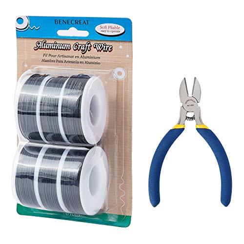 BENECREAT 6 Rollos 1mm Alambre de Aluminio Alambre para Manualidades con Alicate de Corte Alambre de Metal Flexible para Cuentas, Bisutería, Artesanía, Floral - Negro 23m/ Rollo