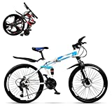 N&I Folding Mountain Bike Adult 24 Inch Double Shock Absorption Off-Road Variable Speed Racing Car Fast Bike for Men and Women 21/24/27/30 Speed Spoke Terms