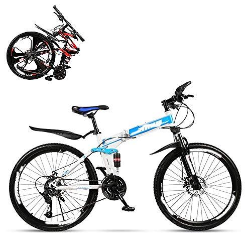Bicicleta de montaña plegable para adultos, coche de carreras de velocidad variable todoterreno con doble absorción de impactos de 26 pulgadas, bicicleta rápida para hombres y mujeres 21/24/27/30