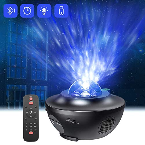 Proyector de Luz Estelar,QXMCOV LED de Luz Nocturna Giratorio,Lámpara de Nocturna Estrellas y Océano,Lámpara Proyector para Niños y Adultos con 21 Modos & Control Remoto & Temporizador & A