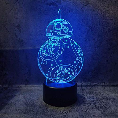 Wangzhongjie Luces De Noche 3D Ilusión Creativa Visual Bb8 Lámpara Led Luces De Decoración De Dormitorio Lámpara De Mesa De Escritorio Usb Niños Regalo De Navidad Juguetes
