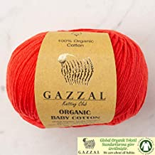 5 Ball (Pack) Gazzal Organic Baby Cotton Yarn, Total 8.8 Oz. 100% Organic Cotton, Each 1.76 Oz (50g) / 125 Yrds (115 m), 3 Light DK, Red - 432
