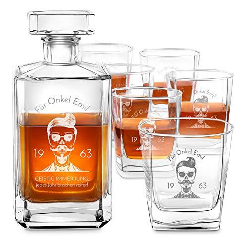 Murrano Whiskey Karaffe + 6er Whiskygläser Set mit Gravur - 700ml Whisky Dekanter - Geschenk zum Geburtstag für Männer - Onkel