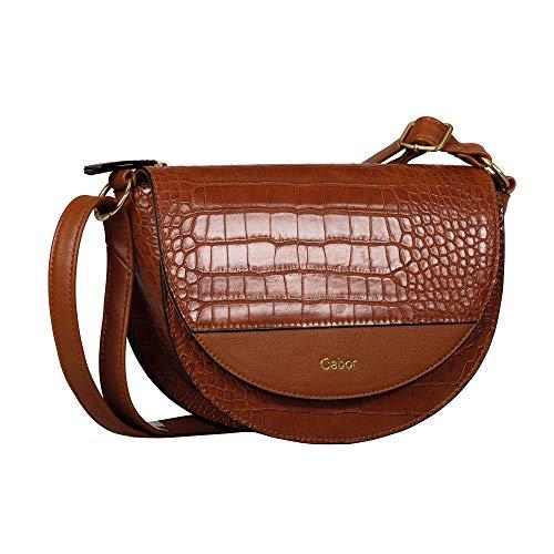 Gabor Damen Janne Flap bag M no zip, Croco Cognac, M