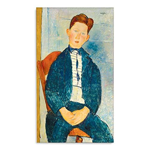 Giallobus - Schilderij - Amedeo Modigliani - Jongen met gestreept shirt - bedrukking op plexiglas acryl - klaar om op te hangen - Diverse formaten - 60x100 cm