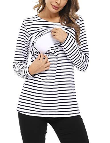 Hawiton Magliette Premaman Cotone T-Shirt L'Allattamento Donna con Manica Lunga e Doppio Strato Maglia Top Gravidanza a Righe Casual 2-Marina Militare XL