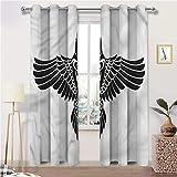 Interestlee Blackout Curtains for Bedroom, Raven Custom Window Grommet Drapes, Norse Mythology Theme Bird Set of 2 Panels, 108 Width x 72 Length