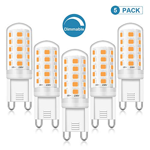 G9 LED Dimmbar Warmweiss, 5W Warmweiß Leuchtmittel Ersetzt 28W - 40W Halogen Lampe, 2700K, CRI> 88Ra, LED G9 Kein Flackern Birne AC 220-240V, 420LM Hell Glühbirne 5er Pack, Viaus