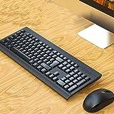 Combo de Teclado de Mouse inalámbrico, Oficina Elegante y clásica, con una Velocidad de 1200DPI, Rango de recepción de hasta 10 Metros Juego de Teclado de Mouse empresarial(Black, Blue)