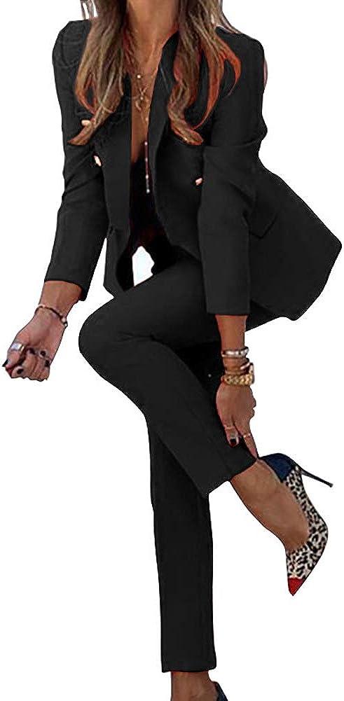 Blazer Jacke GuoCu Damen Anzug Set,2-Teilig Elegant Hosenanzug,Slim Fit Blazer mit Anzughosen f/ür Office Hochzeit,Fr/ühling Sommer Einfarbig Business Outfit Zweiteiliger Freizeitanzug Anzug,Hose