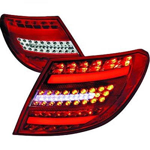 feux arrière design, set W204, 07-11 BERLINE LED/cristal/rouge-chrome avec clign./feu stop en LED avec feu position en LED LIGHT BAR DESIGN