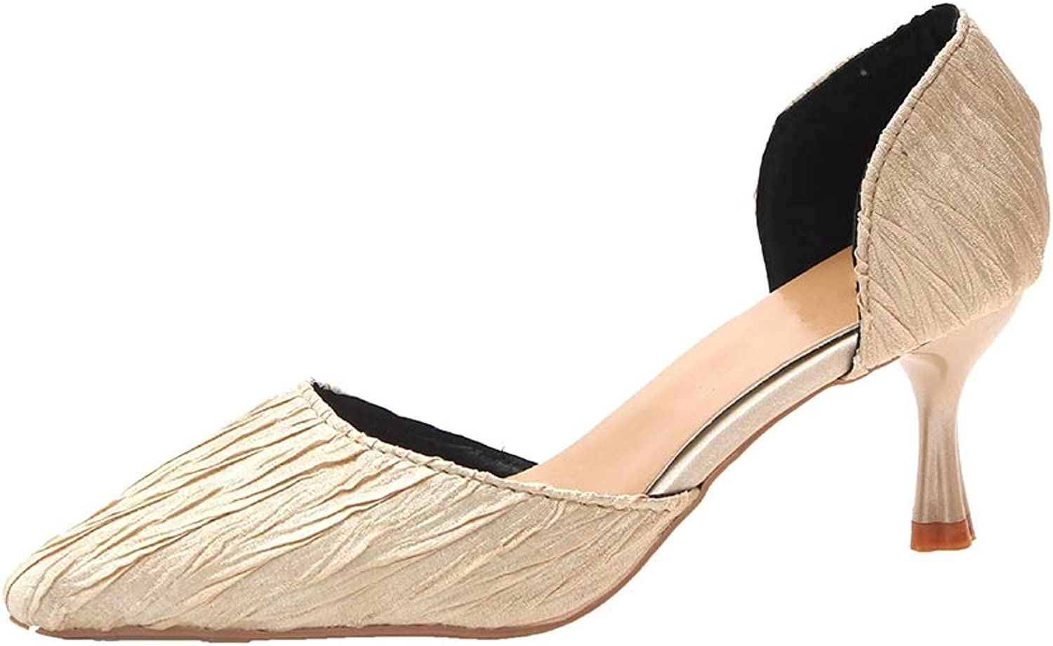 Sam Carle Women's Pumps,Closed- Toe Elegant Non-Slip Beige bluee Daily Office shoes