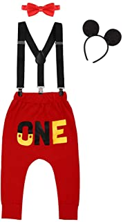FYMNSI Baby Boys 1st/2nd Birthday Cake Smash Outfits Photo Props Costume Suspenders+Long Pant+Bowtie+Headband