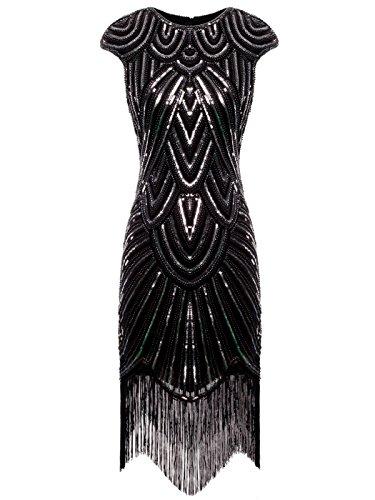 FAIRY COUPLE Vestito Gatsby Donne 1920s Vestito Abito Anni 20 Donna Vestito da Sera Paillette Impreziosito Frange D20S002(M,Black Sliver)