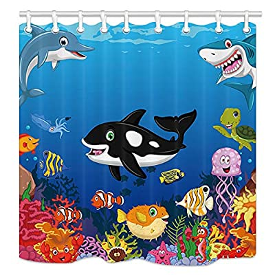 Kids Shower Curtain With Cartoon Sea Animals Whale Dolphin Shark Fishes