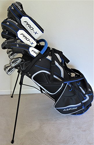Mens Complete Golf Club Set - Adjustable Driver, Fairway Wood, 3,4,5 Hybrids Irons, Sand Wedge, Putter & Stand Bag Right Handed Stiff Flex