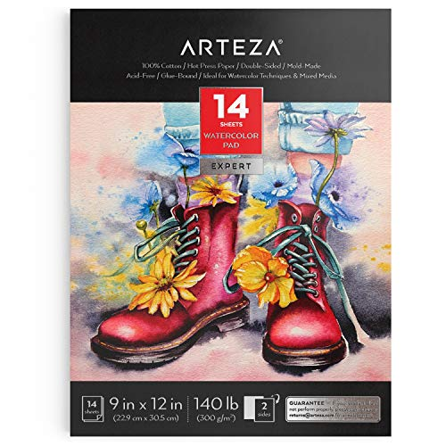 Arteza Watercolor Paper Pad, 9 x 12 Inches, 14 Sheets of Double-Sided Fine-Grained 100% Cotton Paper, 140-lb, Hot-Press, Art Supplies for Watercolor Techniques and Mixed Media