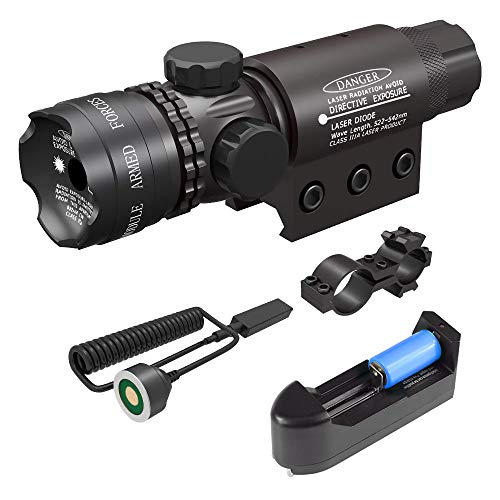 Feyachi Tactical Green Dot Laser Sight with Picatinny Rail Mount - Include Battery Charger, Barrel Mount & Cable Switch