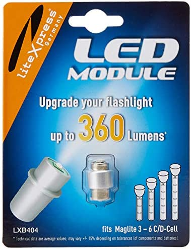 LiteXpress LXB404 LED Upgrade Module 360 Lumens for 3 6 C D Cell Maglite Torches product image