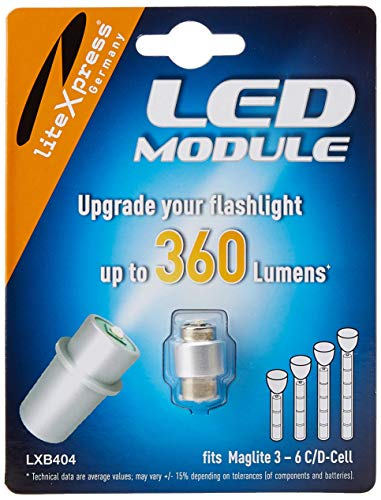 LiteXpress LXB404 LED Upgrade Module, 360 Lumens for 3 - 6 C/D Cell Maglite Torches