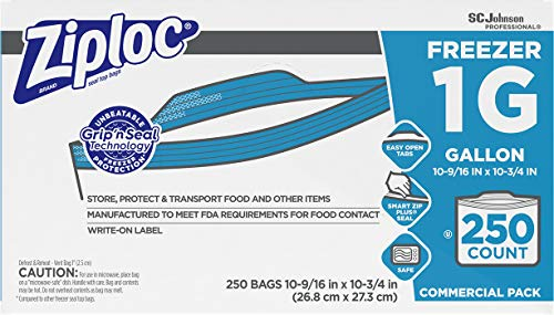 SC Johnson Professional ZIPLOC Freezer Bags, For Food Organization and Storage, Double Zipper, Gallon, 250 Count