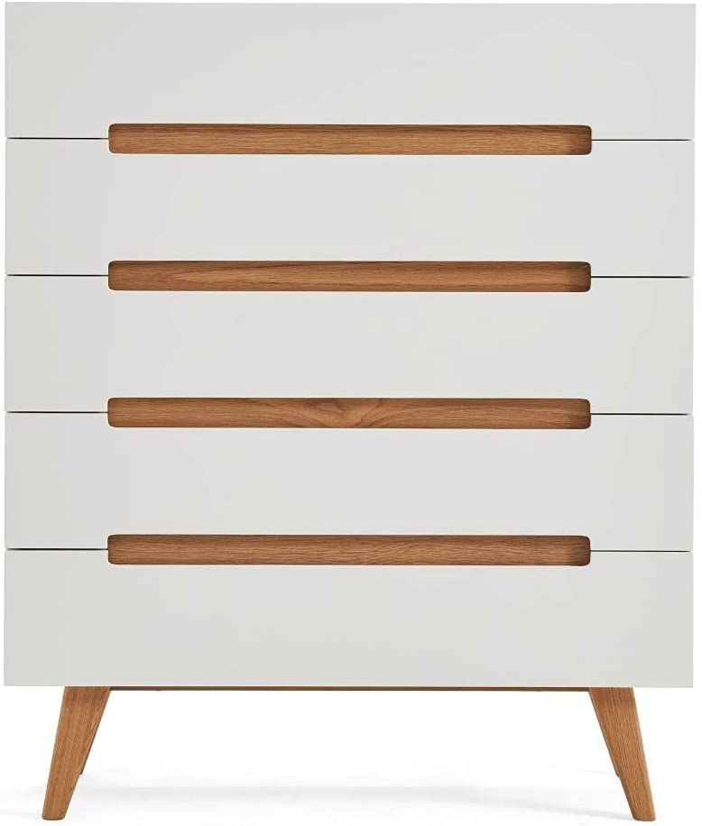 VALYOU Furniture Valona 5 Drawer Dresser PU wit 70% OFF Outlet 18mm Painted MDF Inexpensive