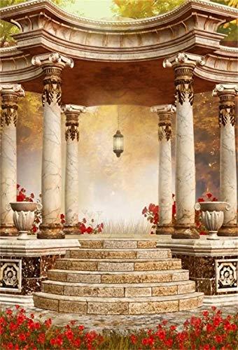 HD 7x10ft Photography Backdrop Gazebo Pavilion Fairytale Marble Pillars Red Flowers Brick Steps Floor Photo Background Backdrops Photography Video Party Kids Wedding Portrait Photo Studio Props