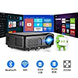 Wireless Projector WiFi Bluetooth 4400 Lumens, HD LED Projector 1080p Support, Digital Home