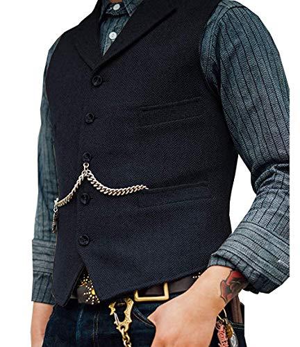 Lovee Tux Herringbone Weste Formale Business Notch Revers Männer Anzug Weste Wolle/Tweed Weste für Hochzeit(M,Marine)