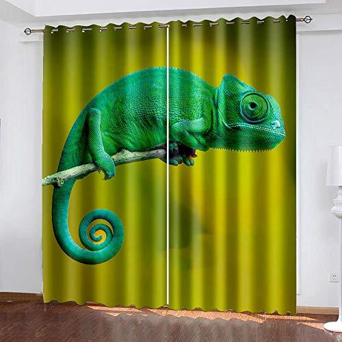 DRFQSK Cortinas Infantiles Impresión Digital Lagarto Verde Animal 3D Cortinas Opacas Termicas Aislantes Cortinas Dormitorio Moderno con Ollaos, 2 Paneles 234 X 230 Cm(An X Al)