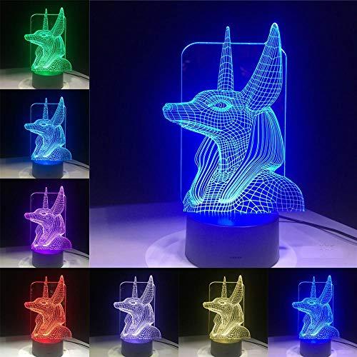 Sanzangtang Led-nachtlampje, 3D-vision-zeven, kleuren-afstandsbediening, ancient Egypt remote schakelaar, zwart, wit, lavabase thuis, decoratie, kinderverjaardagscadeau, nachtlampje voor kinderen