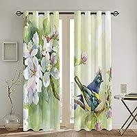 遮光カーテン,木の枝のイラストに春の水彩風の効果の鳥,断熱,おしゃれ 寝室 リビング用 カーテンセット 昼夜目隠し,2枚組 130X180cm