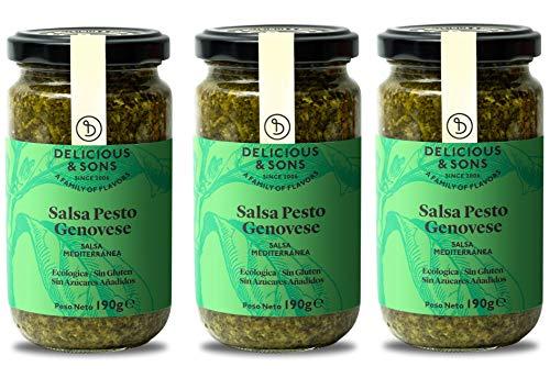 Delicious & Sons Salsa Pesto Genovese Italiana - Ecológica - Sin Transgénicos - Sin Gluten - Con Albahaca Fresca Ecológica, Piñones Italianos y Queso Parmigiano Reggiano DOP - 190g (Pack de 3)